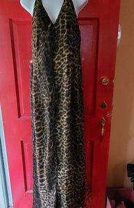 Leopard print jumpsuit with halter top